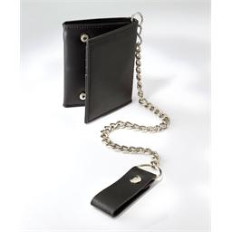 Portefeuille noir avec chaîne